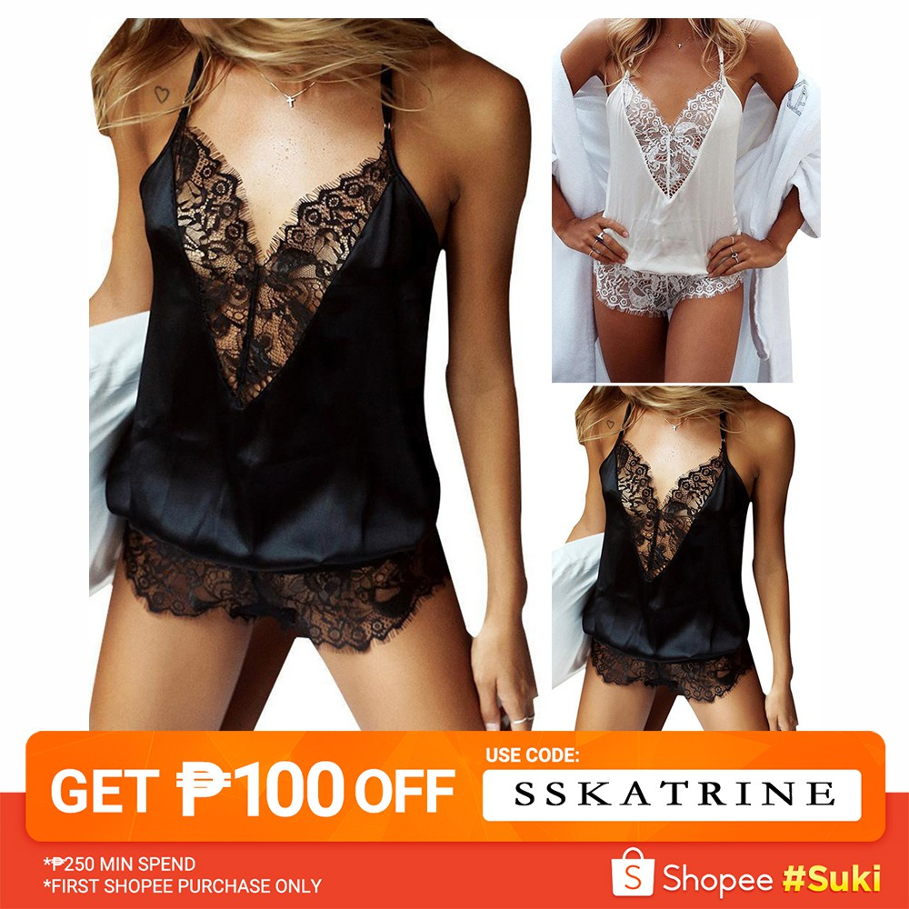 Women Satin Lingerie Bodysuit Babydoll Short//Long Sleeve Jumpsuit Pajamas Glossy