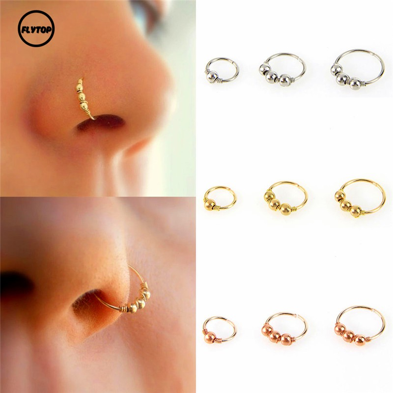 Ft 1 Pc 6mm 8mm 10mm Sexy Gold Silver Round Beads Nose Ring Stud