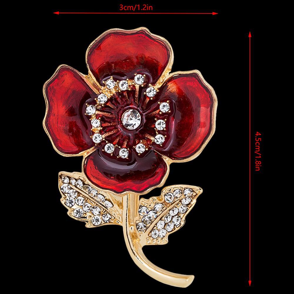 NEW Silver 4.5cm Crystal Poppy Flower Hat /& Cross Brooch Badge Pin