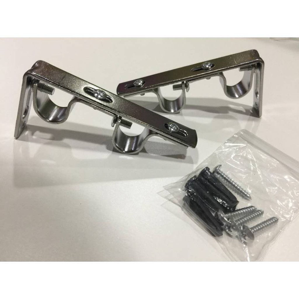 Picture of: Set Of 2 Double Curtain Rod Bracket For 3 4 Or 5 8 Shopee Philippines
