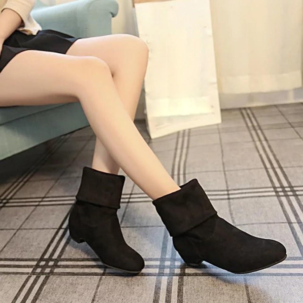 Autumn Winter Snow Boots Women Suede Knee Long Boot Flat Flock Leisure Shoes