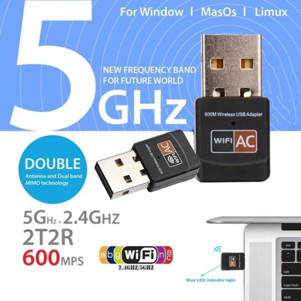 5G Hz Wireless LAN USB PC WiFi Adapter Network 802.11AC As Shown Redcolourful 600Mbps Dual Band 2.4G
