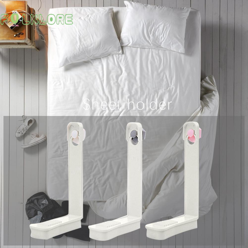 4pcs White Skid Elastic Band Retaining Clip Holder For Fixed Bedspreads Sheets