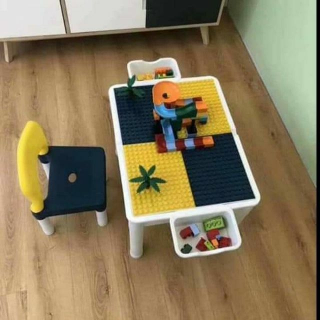 Kids Lego Table And Chair, Wood Lego Table With Chairs