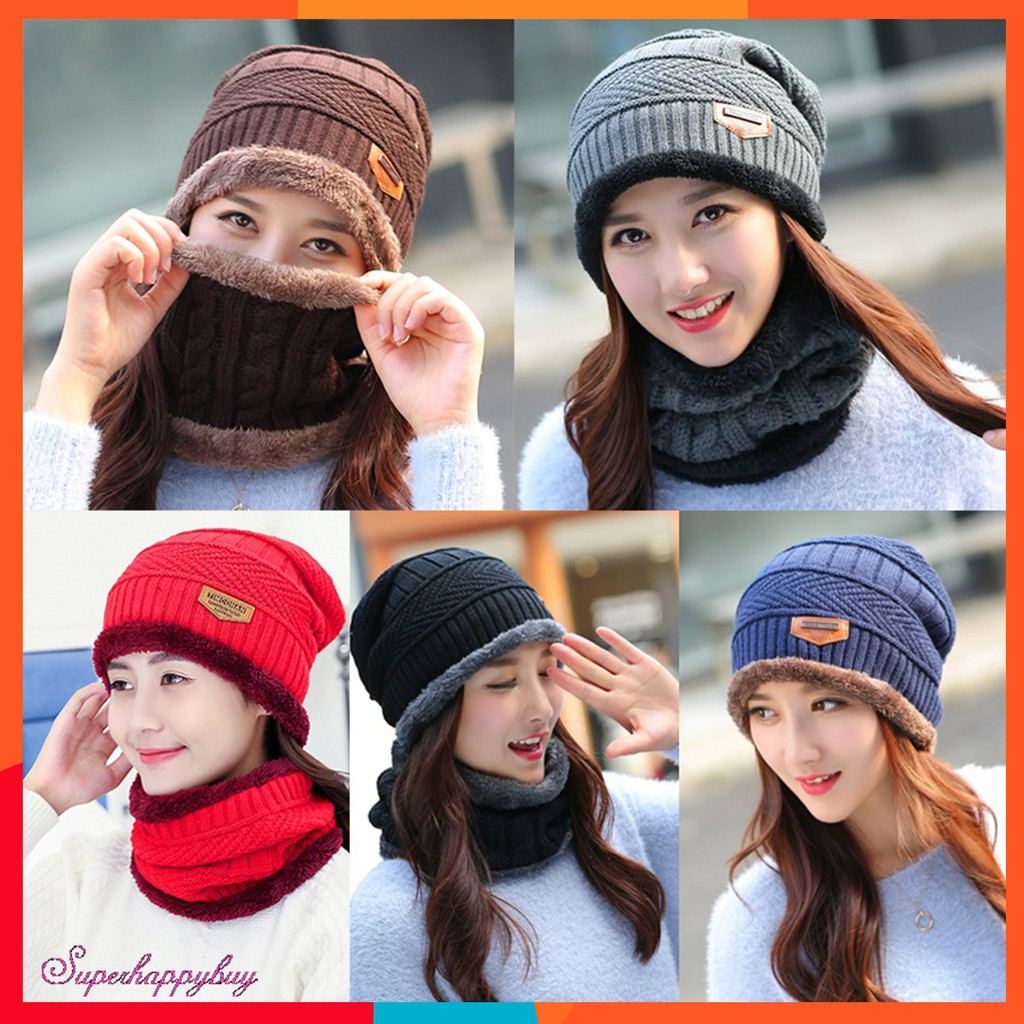 e48cc2126 2pcs Unisex Winter Thicken Knitted Hats + Scarf Masks Sets