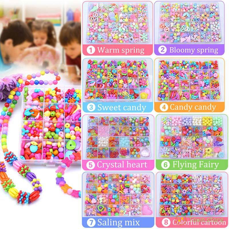 Children Amblyopia Candy Colors DIY Wear Beads for Bracelet Kids Toys  Geometric Shape Personalized