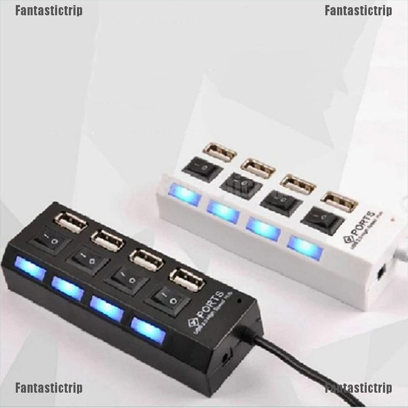 USB Hub 2.0 High Speed 4 Port USB 2.0 Hub Splitter On//Off Switch for Laptop PC,