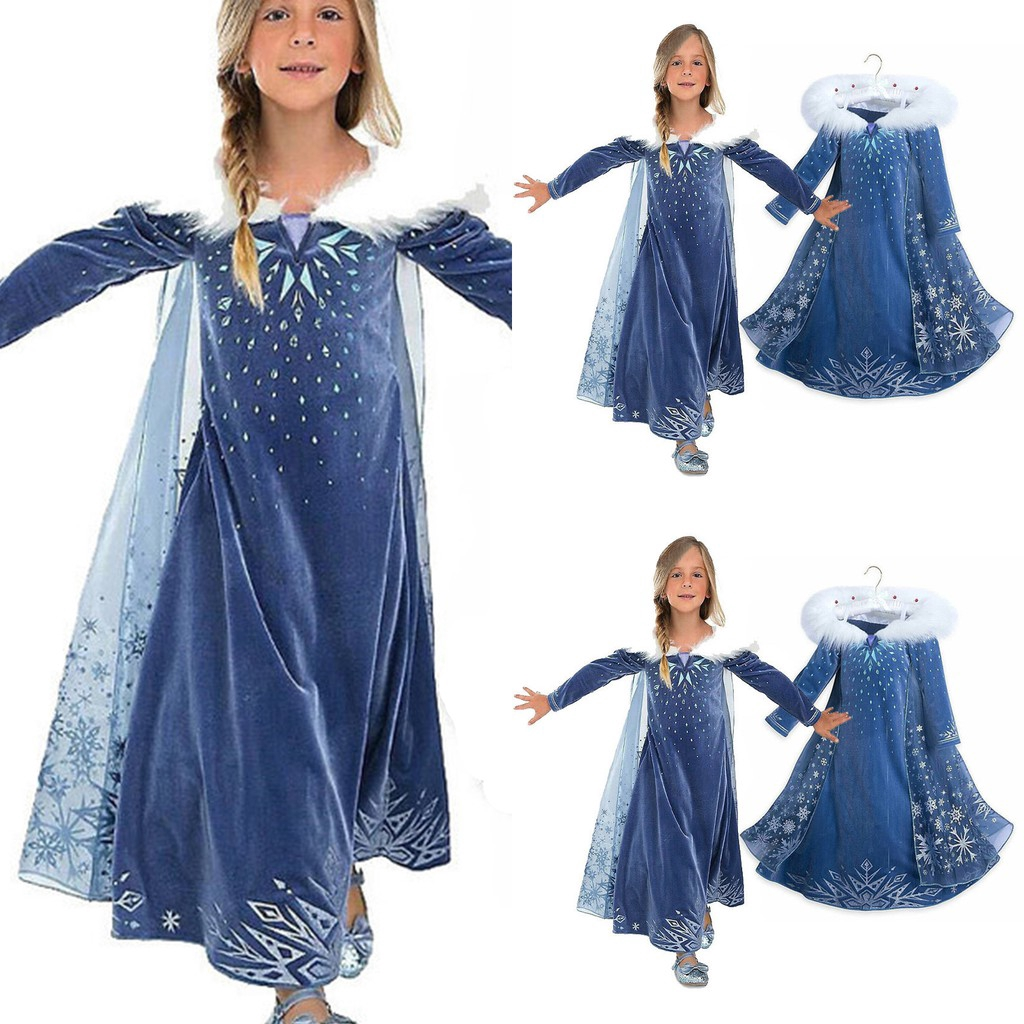 Kids Girls Elsa Frozen Cosplay Costume Princess Anna Fancy Dress Clothes 3-9Yrs