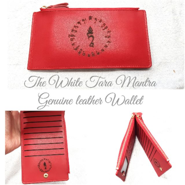 White tara Mantra GENUINE unisex LEATHER WALLET in red