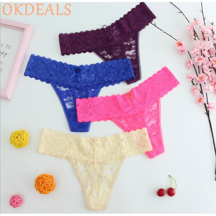 3d26b12027f Lushastore Ladies Sexy Thongs Open Crotch G-string Lace Bowknot Panties  Underwear