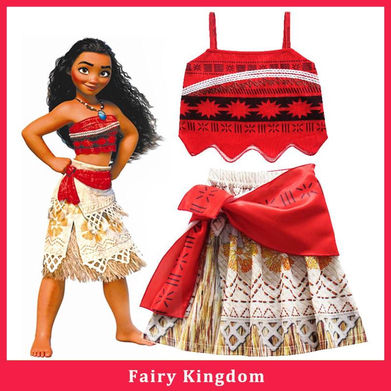 New movie Moana Costume Princess Dress Skirt Halloween Cosplay