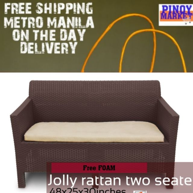 Vintage Jolly Rattan Two Seater Sala