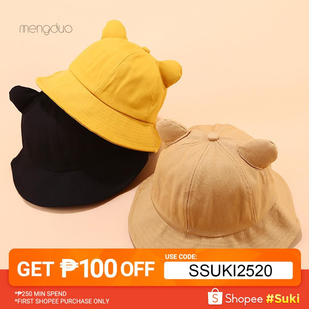 b9923d8c MD☆Kawaii Cute Cat Ears Solid Color Women Fisherman Hat Folding Outdoor Bucket  Cap | Shopee Philippines