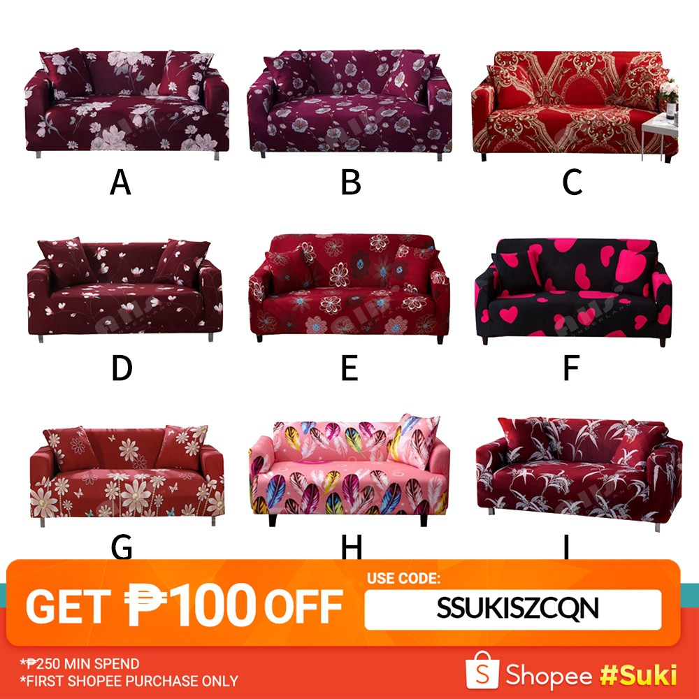 Red Sofa cover flower design streach furniture protector