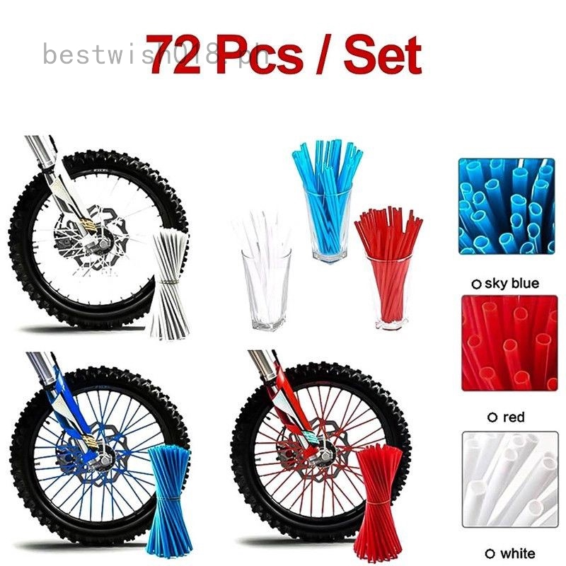 Blue 72Pcs Motorcycle Motocross Dirt Bike Wheel Rim Spoke Skins Covers Wrap Decor Protector Kit