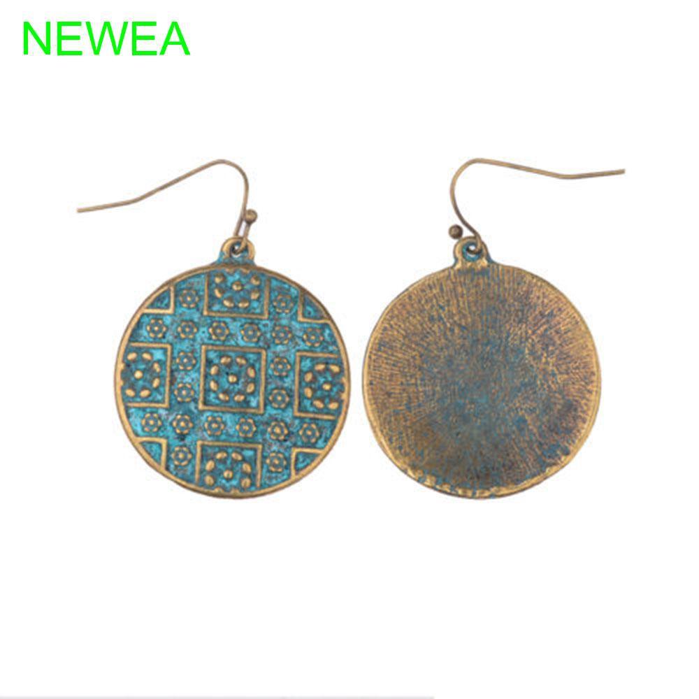 96500b6d38867 Boho Vintage Carving Ethnic Round Earrings