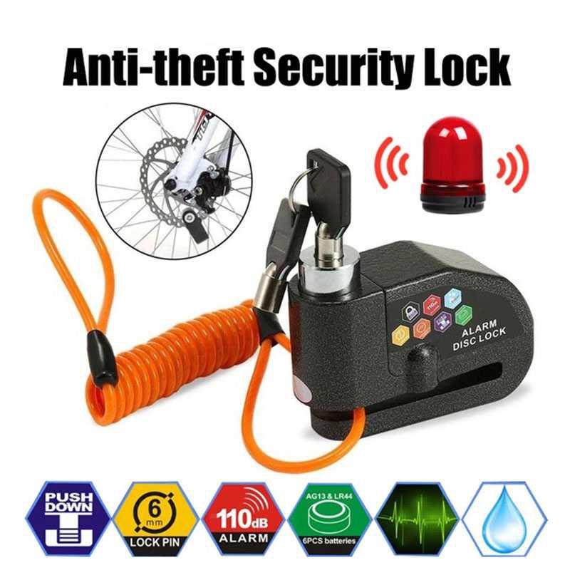 Motorcycle Motorbike Scooter Disc Brake Lock 110db Loud Alarm Anti-theft W//2 Key
