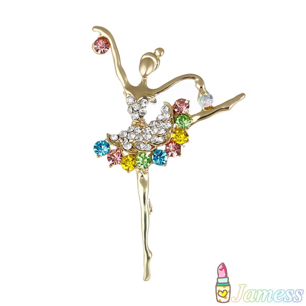 Elegant gold silver tone crystal ballerina brooch pin