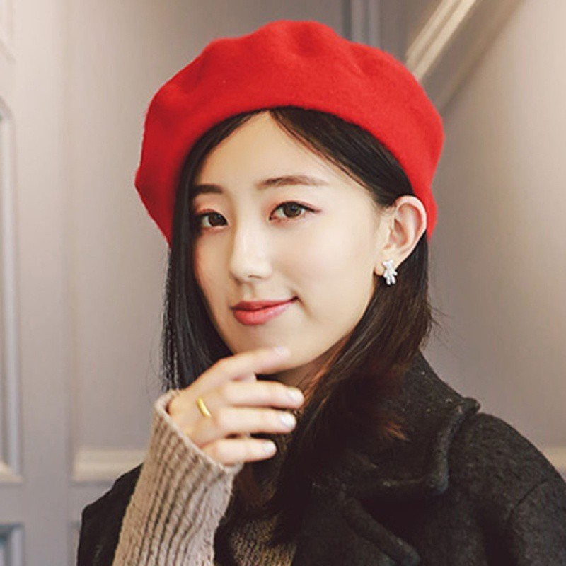 a38d8258 Women Girls Fashion Plain Beret Hat Wool French Beret Winter | Shopee  Philippines