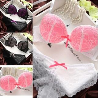 e2ab567f91 2Pcs Set Women Sexy Push Up Bra Sets Underwear Lace Brassiere+Panties Suit  B Cup