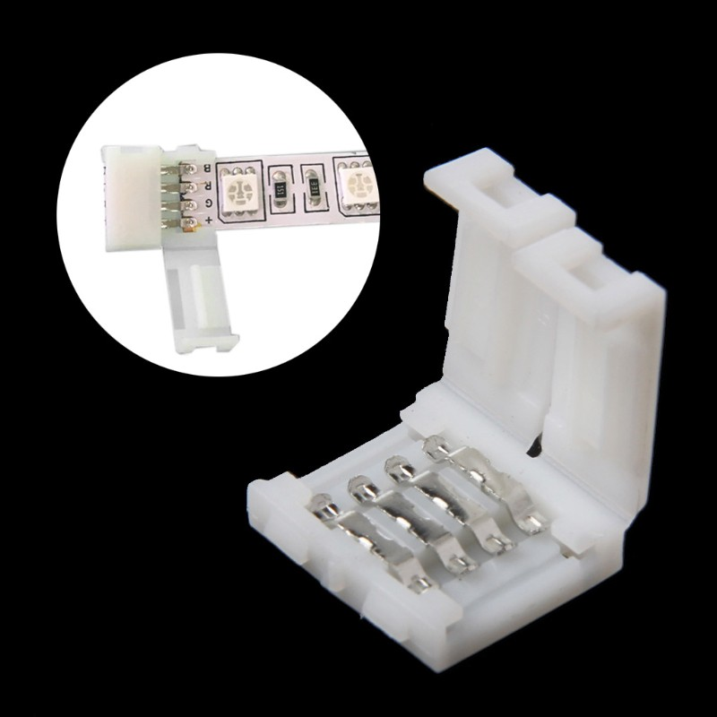 Solderless Clip-on Coupler Connector T L 4pin RGB F 10MM 5050 LED Strip Light