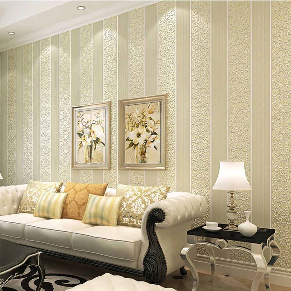 White Yellow Beige Pink Brown Shimmer Damask Striped Wallpaper For Bedroom Modern Embossed Texture Wall Paper Roll Home Decor Shopee Philippines