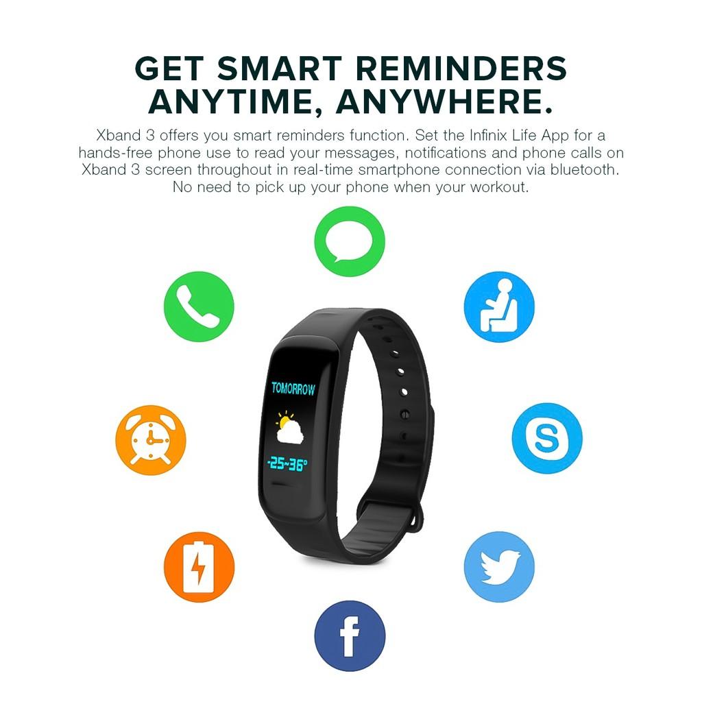 Infinix Genuine XB03 Smart Band Bracelet (Black) | Shopee