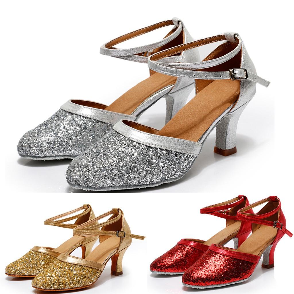 Ladies Women Low Block Heel Party Bridal Glitter Sandals Wedding Prom Shoes #011