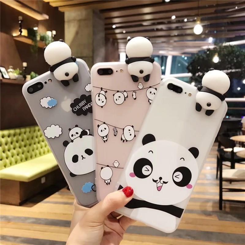 VIVO V9 Y85 Y71 Transparent 3D Panda Soft Phone Case