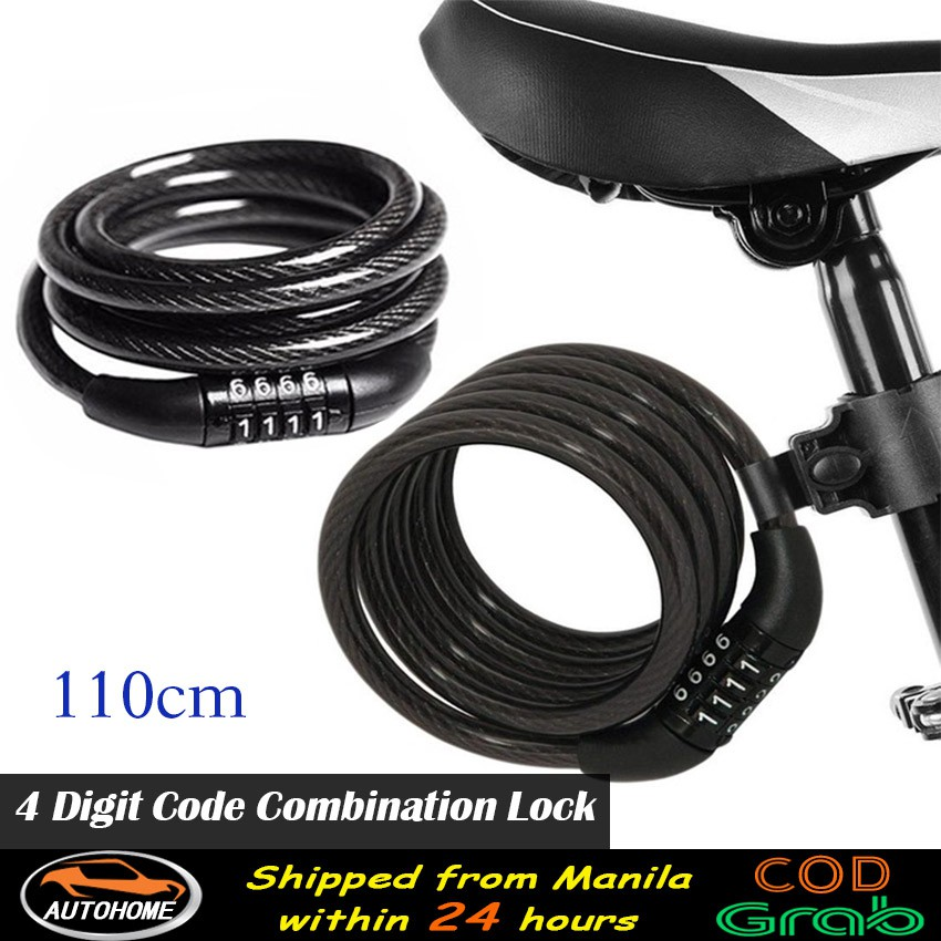 """BIKE LOCK 48/"""" PLASTIC COATED BICYCLE CABLE 4 DIGIT COMBINATION @@ MY OTHER ITEMS"""