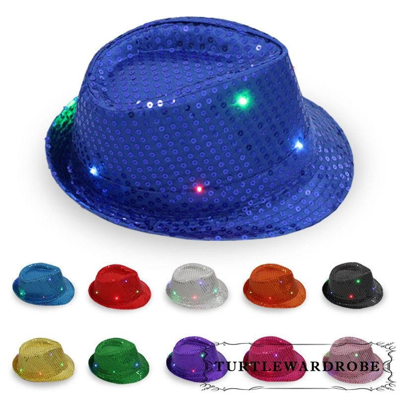 LED Flashing Sequin Fedora Hat Party Novelty Costume Jazz Caps Black ... 483907a2253a