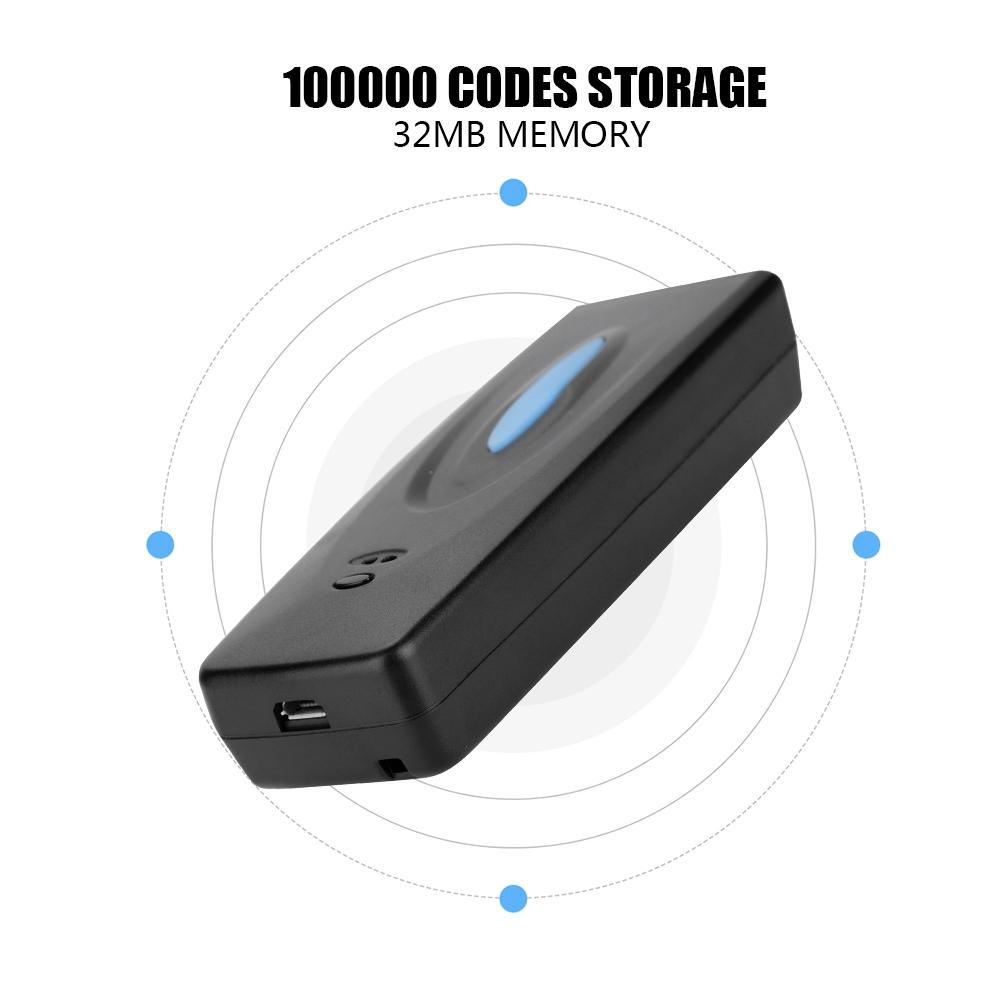 Bluetooth Barcode Scanner with 32MB Memory 55yd Data