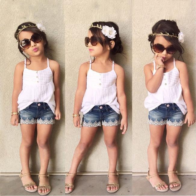 e90bd0e341 Kids Baby Girls Outfits Set Top T-shirt +Jeans Pants Clothes