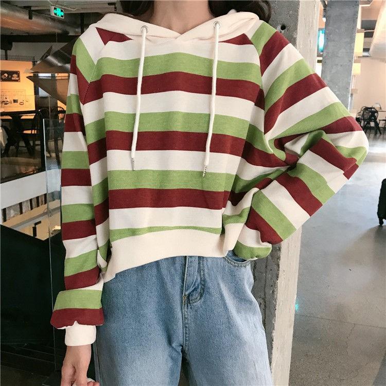 ✵☑Han edition loose cotton fleece female hooded stripe students ins tall waist coat boom autumn long sleeve short jacket