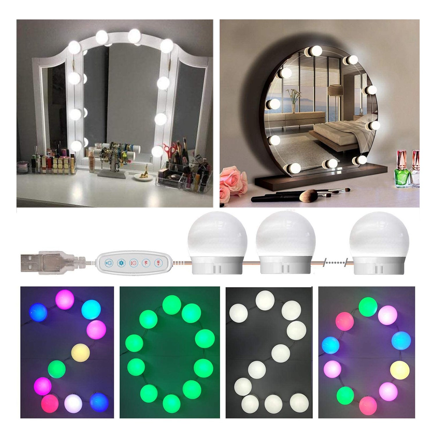 Vanity Lights For Mirror Adjustable Rgb Color Diy Mirror Lights Kit Shopee Philippines