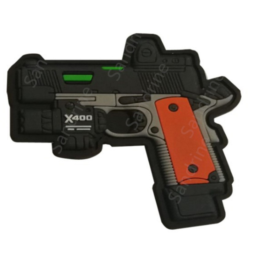DIY 3D PVC Rubber Rifle Guns Shape Airsoft Military Tactical Morale Patch Badge