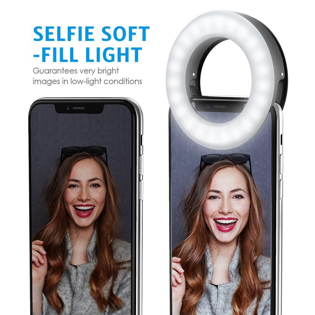 ORIA Clip-on LED Camera Light Other Smartphone Rechargeable Fill-Light Selfie Ring Light 3-Level Adjustable Brightness On-Camera Video Light for iPhone Samsung Tablets etc