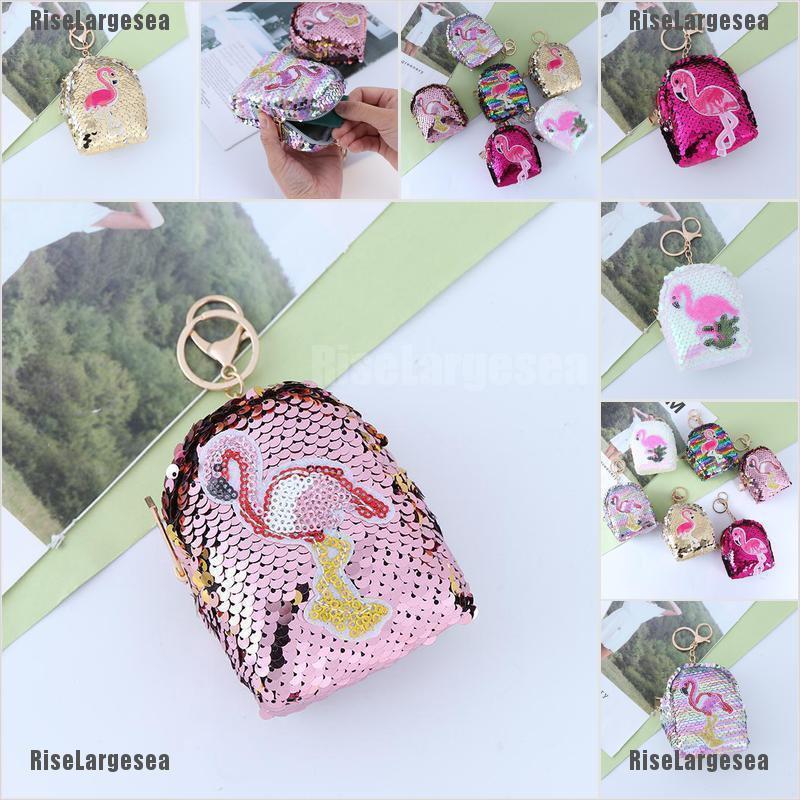 Sequins Coin Purse Women Kids Mini Backpack Wallet Keys Card Holder Earphone Bag