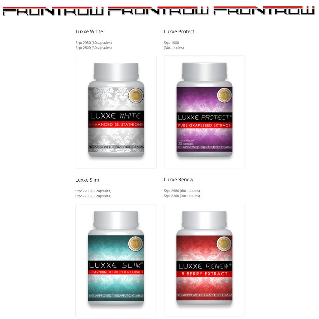 Luxxe White Glutathione 60, Luxxe Protect 30, Renew, Slim