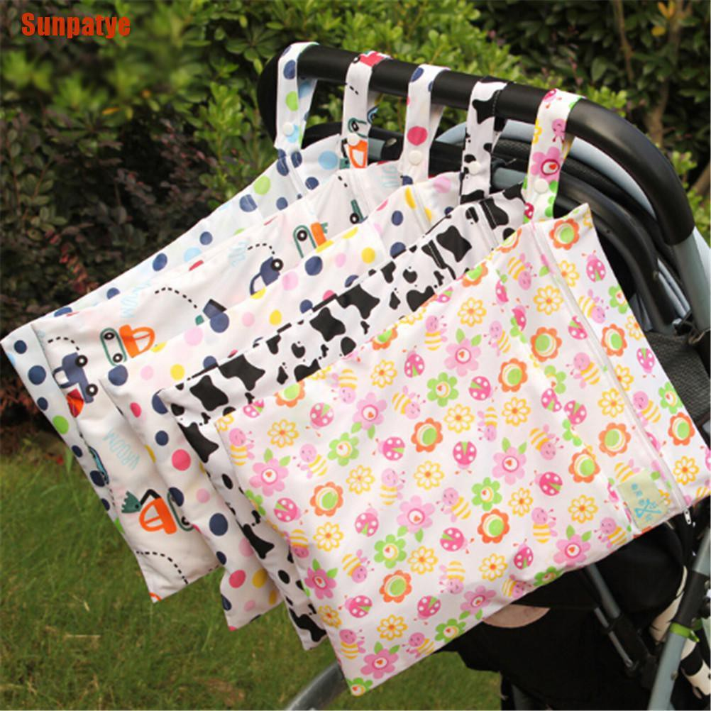 Waterproof Resuable Wet and Dry Baby Diaper Nappy Bag Oranizer Pouch Two Pockets with Dual Zipper Pink Bird Pattern
