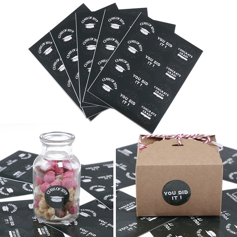 60pcs Class of 2019 Seal Stickers Paper Labels for DIY Graduation Gifts  Decor