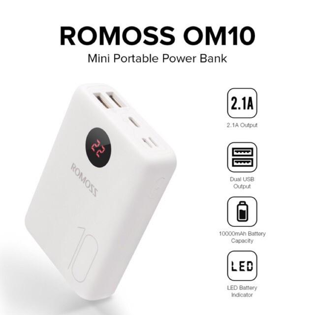 Romoss OM10 Mini Portable 10000mAh Dual USB Output Lithium Polymer Battery  Capacity Powerbank