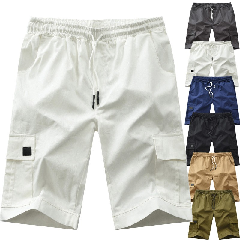 P/&E Mens Pocket Prited Elastic Waist Drawstring Summer Beach Shorts