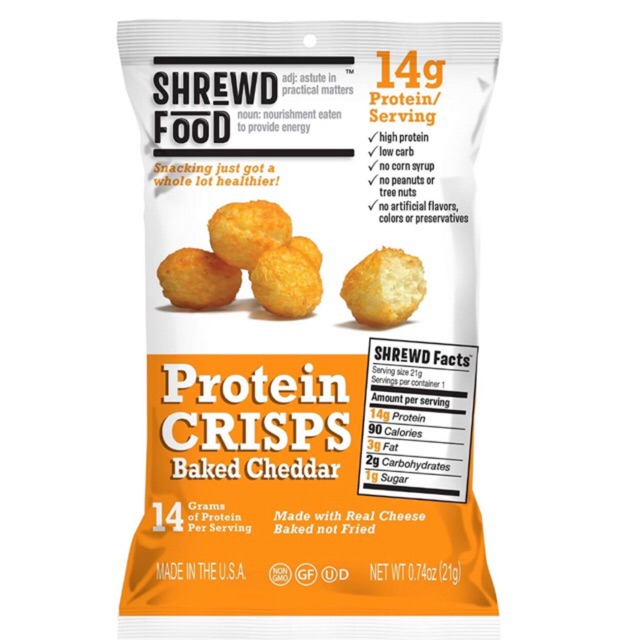 Shrewd Food Protein Crisps | High Protein, Low Carb, Gluten Free Snacks |  No Artificial Flavor
