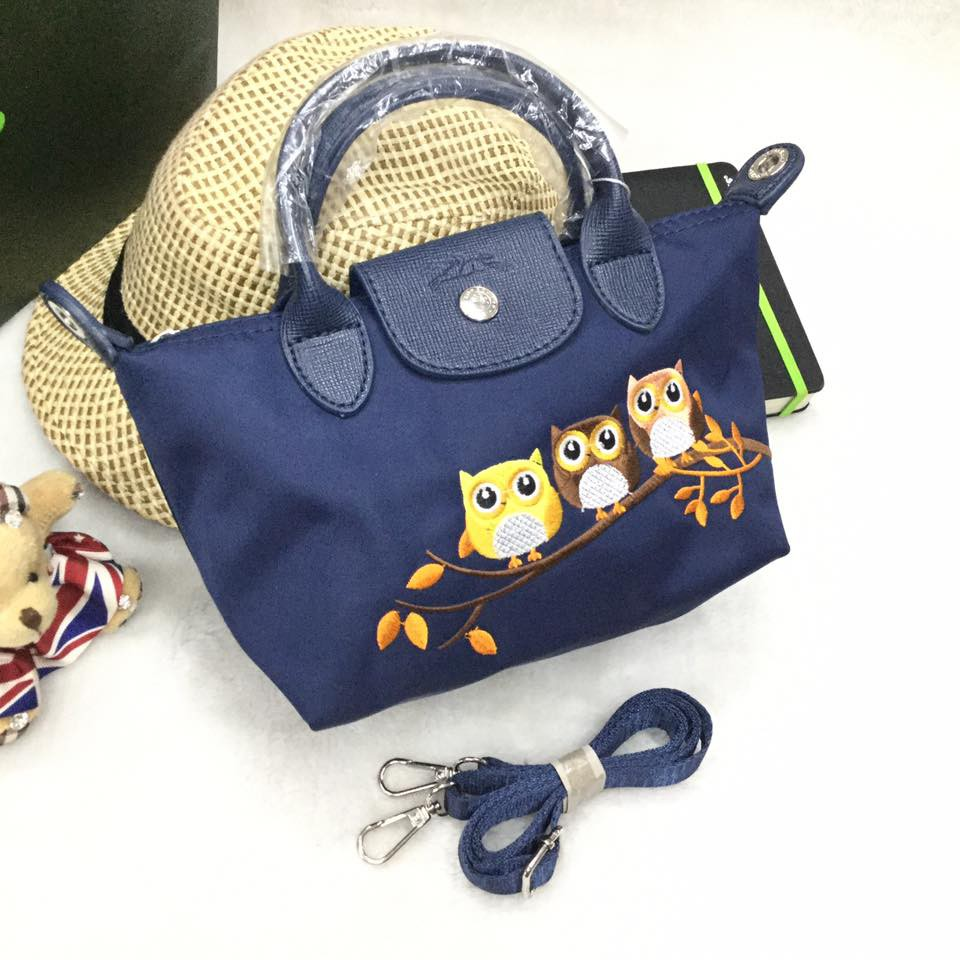 832d561eed9b Owl Embroidered Longchamp Mini Tote Bag