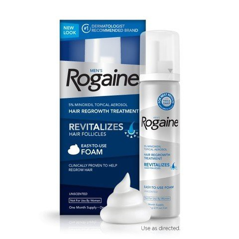 Mens ROGAINE 5% Minoxidil Tropical Aerosol, Hair Regrowth Treatment  (Unscented Foam) One Month Suppl
