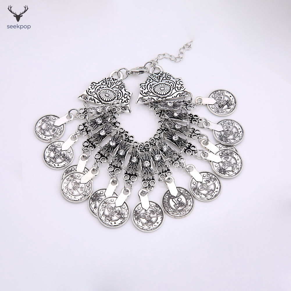 ff8cbec6a889d Bohemian Coin Bracelet Crystal Bangle Alloy Gypsy Boho Festi