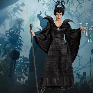 Adult Maleficent Evil Queen Cosplay Costume Outfit Dress
