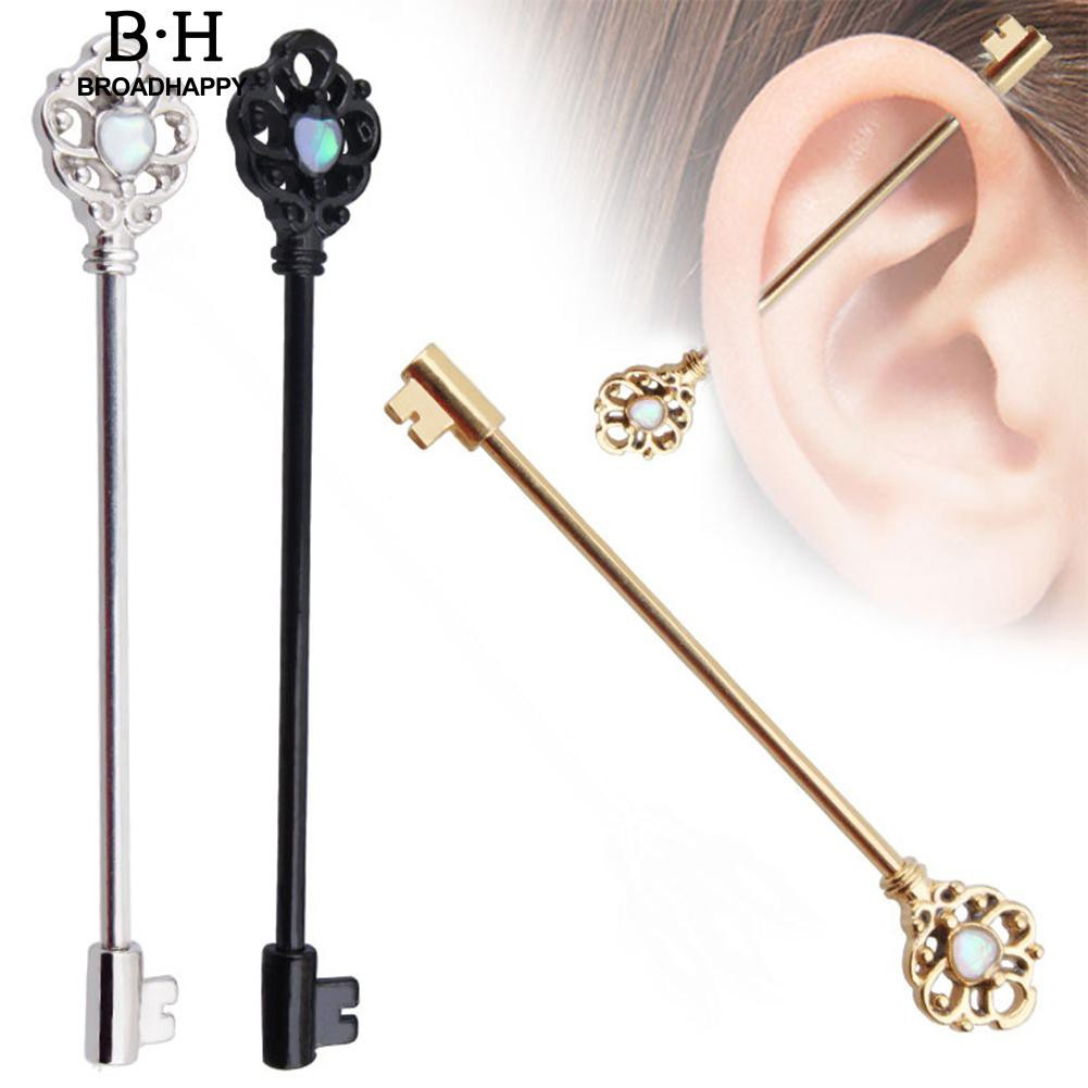 ee09f16b6 Ear Stud Barbell Scaffold Bar Cartilage Body Jewelry Key Piercing Earrings  | Shopee Philippines