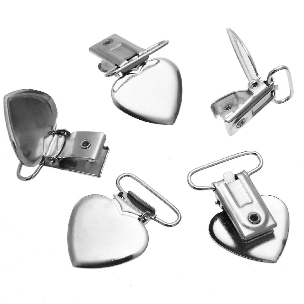 10Pcs Cute Metal Peach Heart Suspender Braces Pacifier Clips Strap Dummy Brace